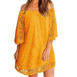 ZANZEA Off Shoulder Yellow Lace Blouse Min…